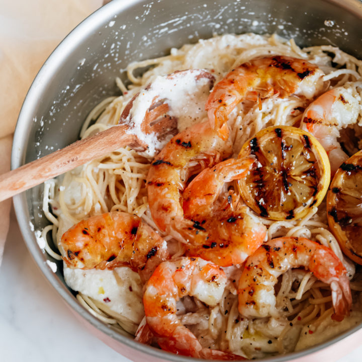 Pasta Bianco with Grilled Shrimp and Charred Lemon